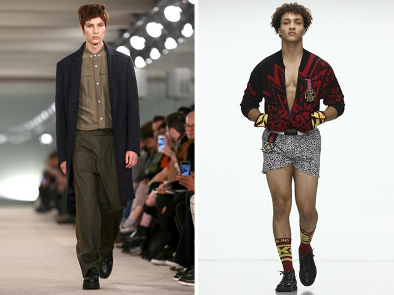 L: Casely-Hayford's was another AW16 show with military undercurrents, featuring parkas and khaki colors along with bright prints and romantic-inspired pieces. R: Sibling's models looked more like boxers on the runway, rocking a fun collection of underwear and outerwear inspired by the sport. (AFP)
