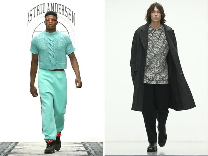 L: Astrid Andersen's collection centered strongly on streetwear, featuring track pants, workwear and puffer jackets. R: Lou Dalton's show also had a functional theme. Trousers and coasts were mostly loose, and there were lots of checkprints. (AFP)