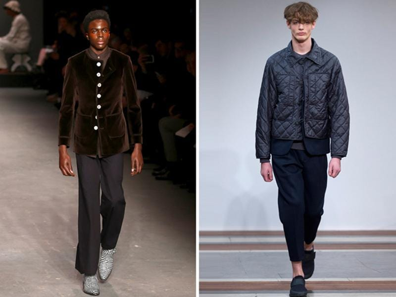 L: With velvet, glitter and flares all spotted on the runway, the AW16 MAN collection by Wales Bonner had a strong 1970s vibe. R: Elaborate outerwear starred at the 1205 show, finished with quilting, tweed and luxury wool. Navy blue was the dominant color, with some olive green and beige pieces. (AFP)