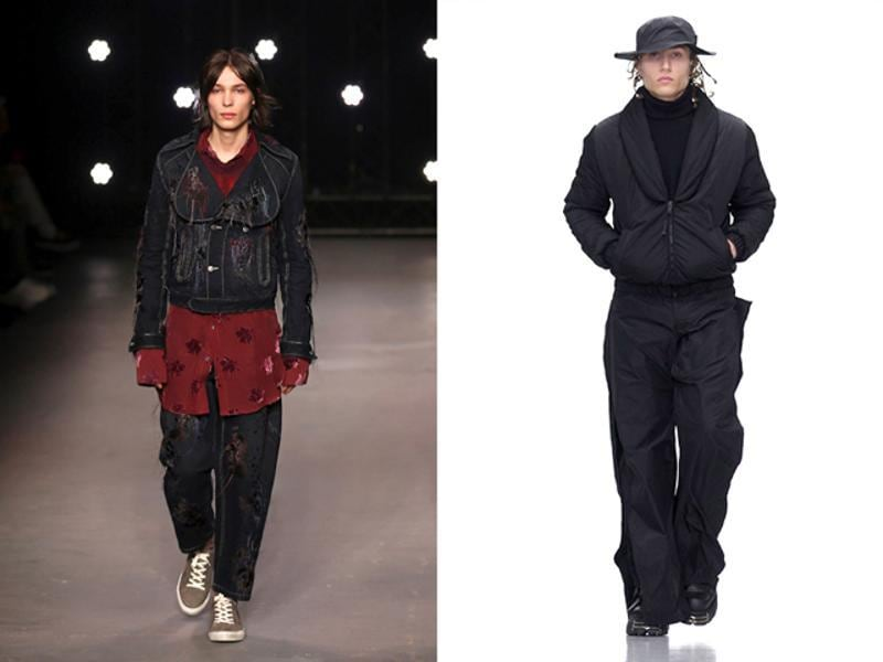 L: Grunge was back in a big way for the Topman Design AW16 show, with baggy cuts and oversized shaped previewed alongside more classic looks. R: Black proved a key theme at Nasir Mazhar's AW16 show, with loose-cut military or sportswear-inspired pieces shown alongside some much more minimalist ensembles. (AFP)