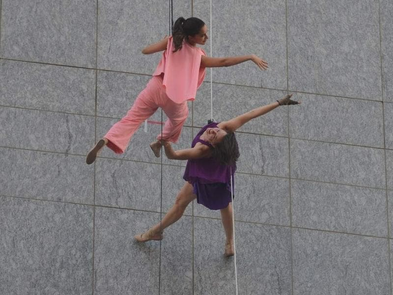 Actress Shraddha Kapoor, perform a gravity-defying stunt during a promotional launch in Mumbai. (IANS)