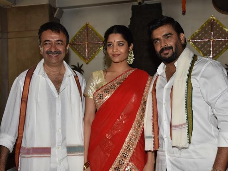 Rajkumar Hirani, R Madhavan and Ritika Singh pose for shutterbugs after Pongal celebrations. (UTV MOtion Pictures)