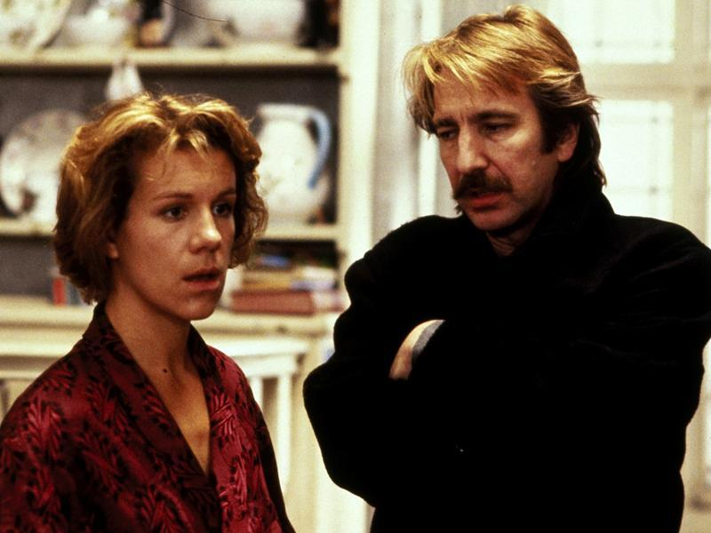 He is cast opposite the amazing Juliet Stevenson in the musical romance flick Truly, Madly, Deeply from 1990. Rickman dies in this movie but returns as a ghost for his girlfriend Stevenson.  (The Samuel Goldwyn company)