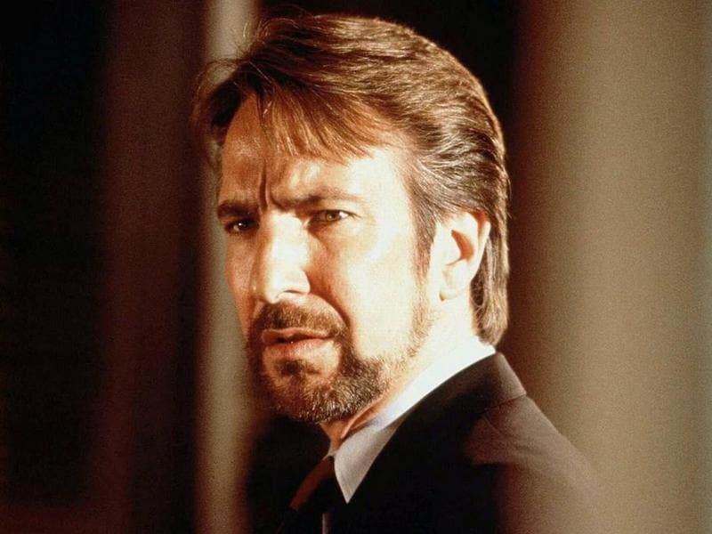 Rickman plays antagonist Hans Gruber in the first Die Hard, released in 1988. He is a German mastermind and the leader of the terrorists who take hostages in a building. His refined mannerisms, even as a villain, made his portrayal memorable. (20th Century Fox)