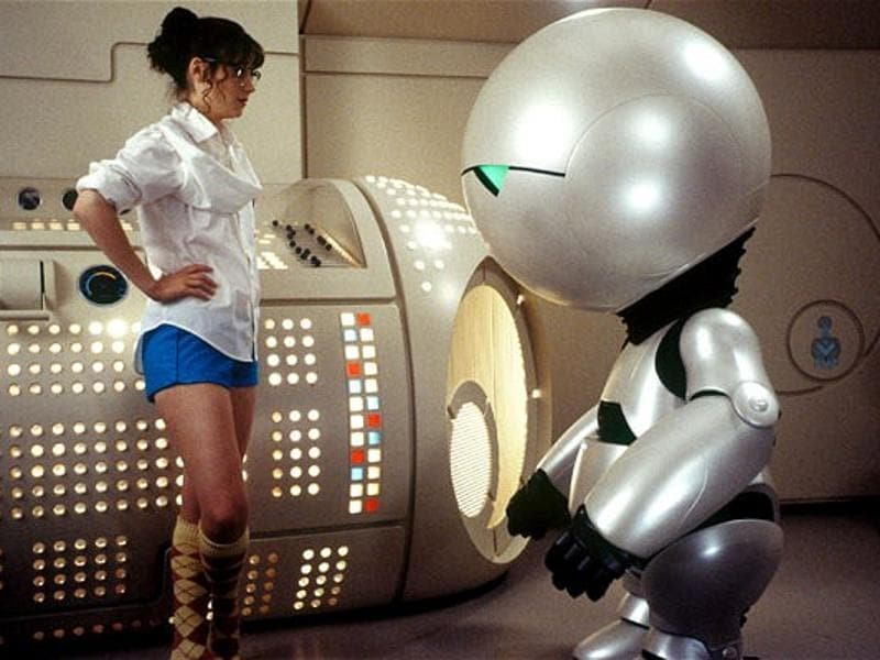 Rickman lends his voice to Marvin the Paranoid Android, a clinically depressed robot that constantly complains about life in Hitchhiker's Guide to the Galaxy. (Buena Vista Pictures)