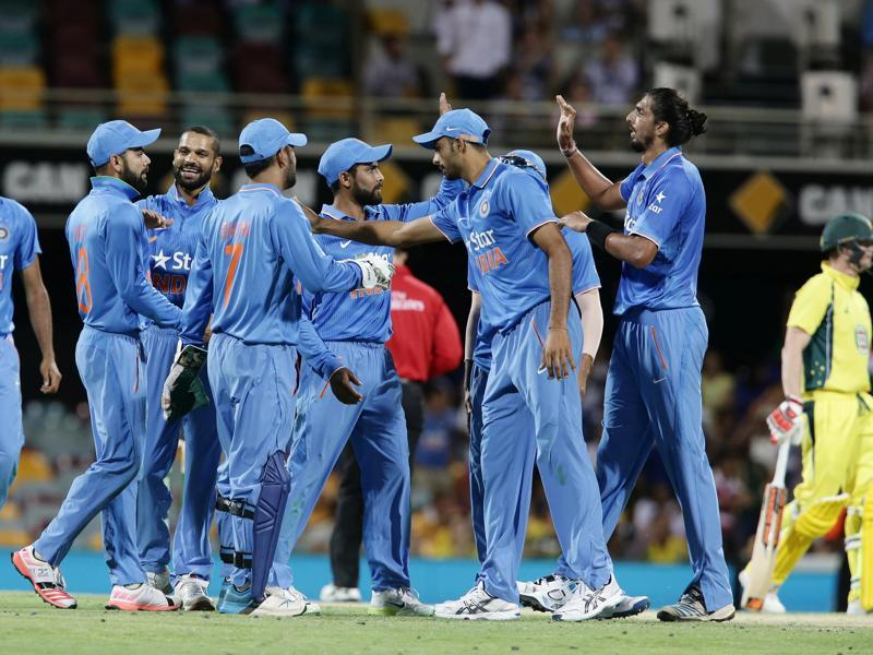 India celebrates getting the wicket of Australia's Shaun Marsh during the 2nd One Day International cricket match between Australia and India. (AP Photo)