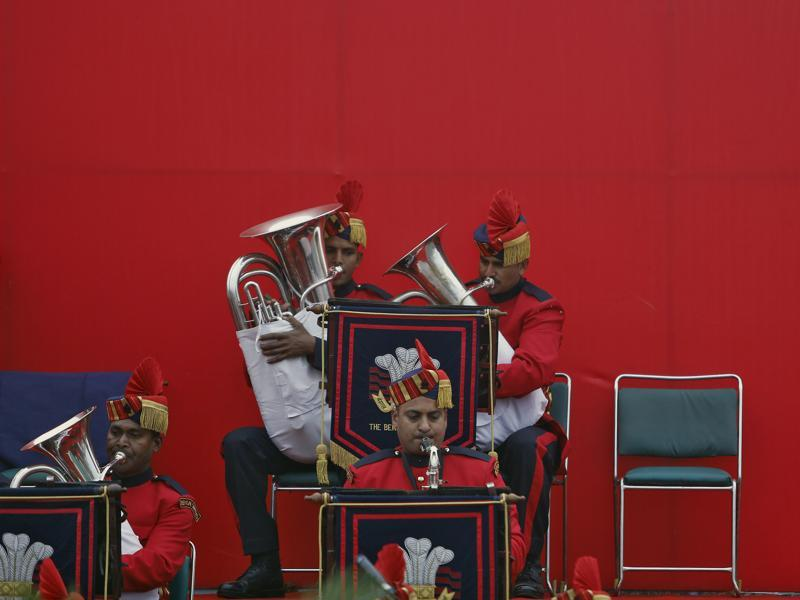 Members of the Indian Army band perform during Army Day parade. (REUTERS)