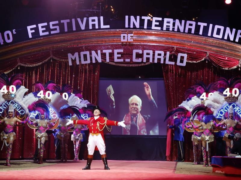 A picture of Prince Rainier III of Monaco is displayed as a tribute is paid during the festival's opening. The festival has become the largest and most prestigious circus event in the world. (AFP)