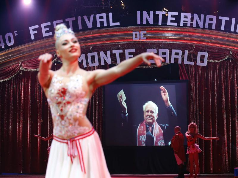 A picture of Prince Rainier III of Monaco is displayed as a tribute is paid during the opening of the 40th Monte-Carlo International Circus Festival in Monaco on January 14, 2016. The Circus festival takes place from Jan 14 to Jan 24.  (AFP)