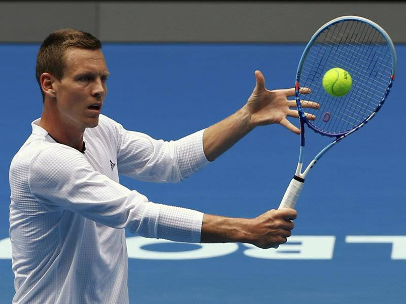 Czech Republic's Tomas Berdych hits a return during a practice session. (Reuters Photo)