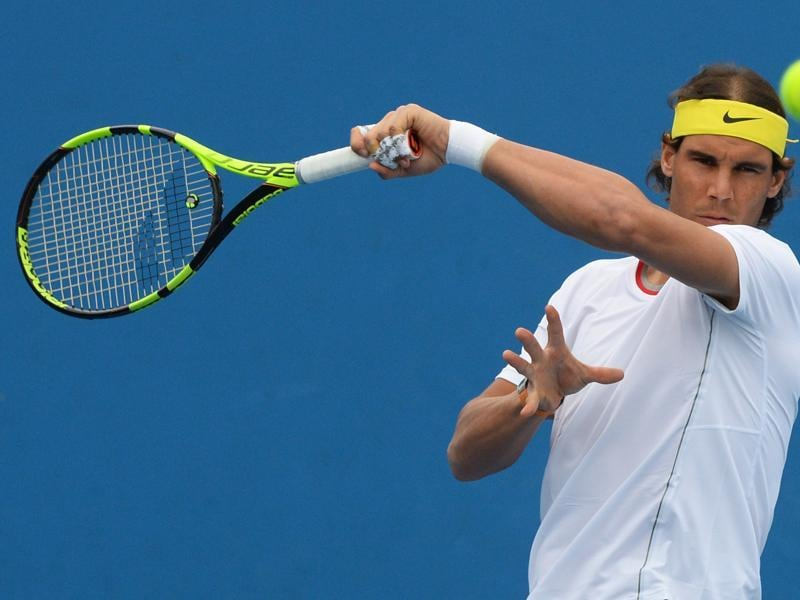 Rafael Nadal of Spain hits some forehands during his practice. (AFP Photo)