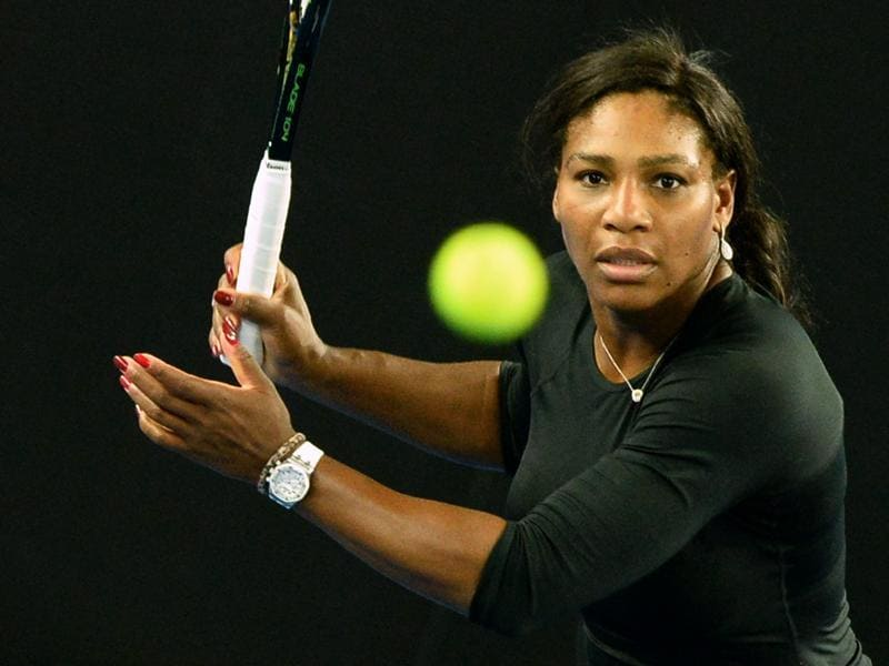 Serena Williams of the US takes part in a practice session.  (AFP Photo)