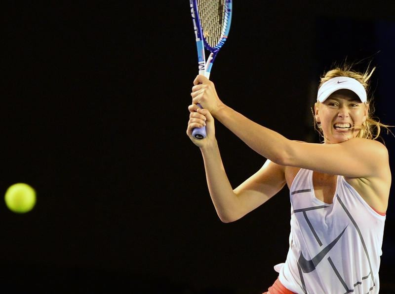 Maria Sharapova of Russia clocks backhands during her practice. (AFP Photo)