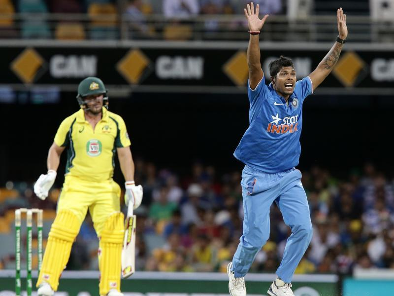 Umesh Yadav, right, appeals for the wicket of Australia's Aaron Finch, left. (AP Photo)