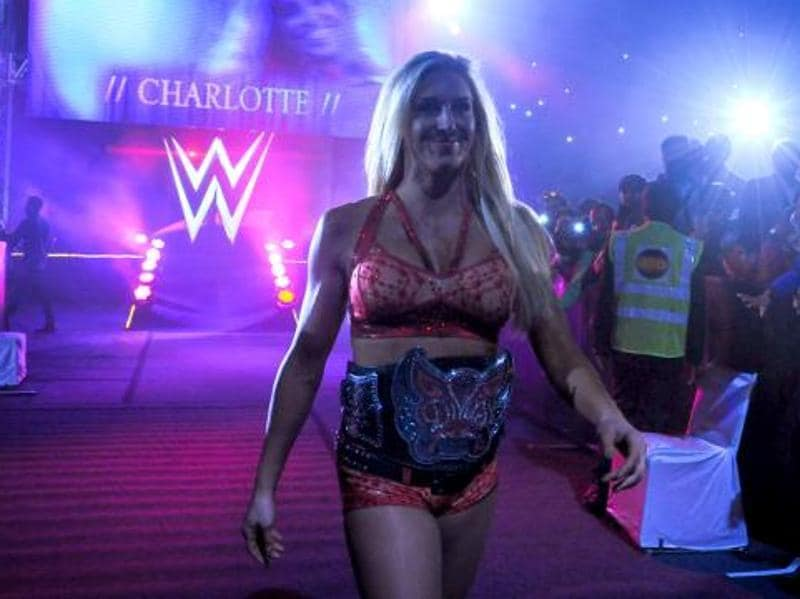 WWE Divas champion Charlotte makes her way to the ring. (Photo: wwe.com)