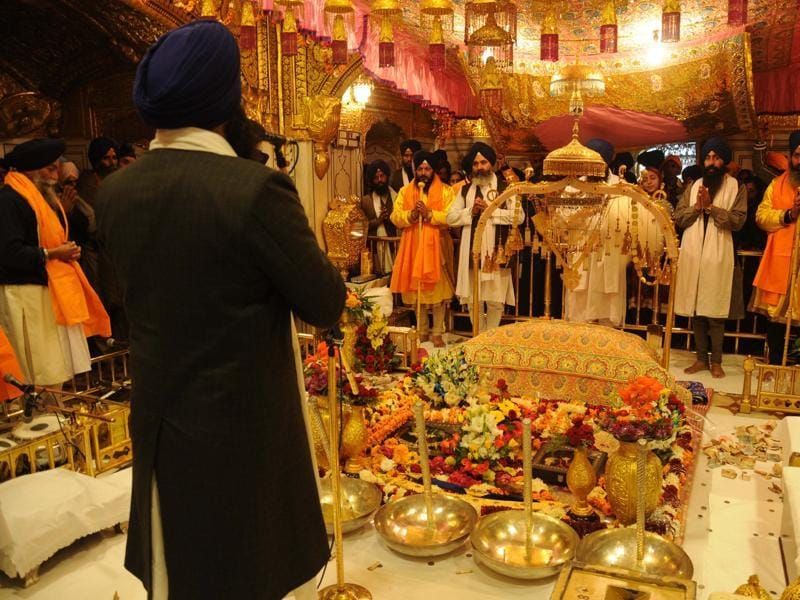 Display of a 'Jalao' (jewellery), a splendour show of Sikhism's symbolic items inside the Golden Temple on the occasion of gurpurab. The jalao is displayed on a very few occasions, including the birthday of Guru Gobind Singh.   (Sameer Sehgal/HT Photo)