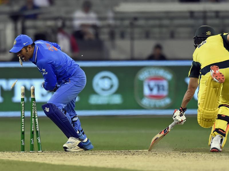 Australia's Mitchell Marsh is run out by India's MS Dhoni. (AP)
