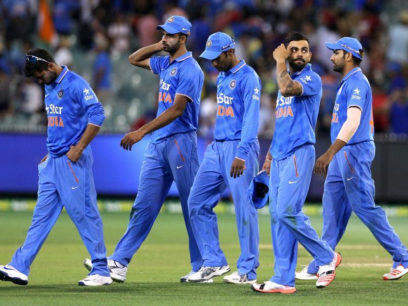 The Indian team leaves the field after their loss against Australia during their One Day cricket match at the Melbourne Cricket Ground. (REUTERS)