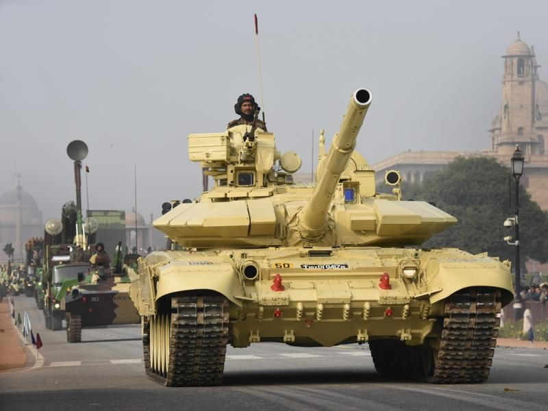 Army tanks at Rajpath during rehearsal for the Republic Day parade. (Arvind yadav/HT)
