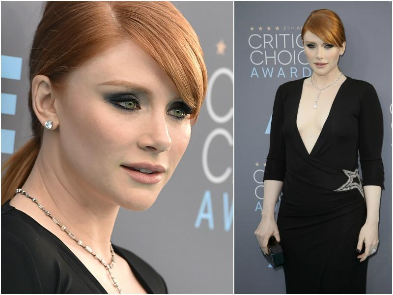 Jurassic World star Bryce Dallas Howard in a low-neck number. Don't miss the stunning eye make -up.
