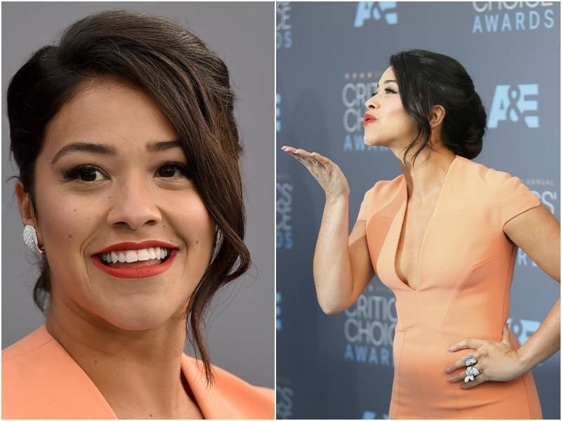 Jane the Virgin actor Gina Rodrigues looks fresh in a peach dress.