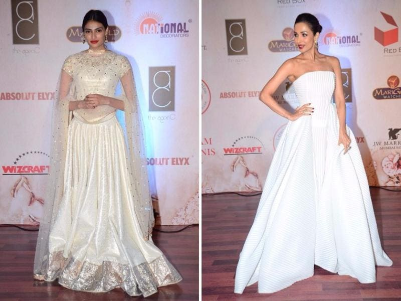 Athiya Shetty and Malaika Arora Khan look serene in shades of white at the fashion gala. (IANS)