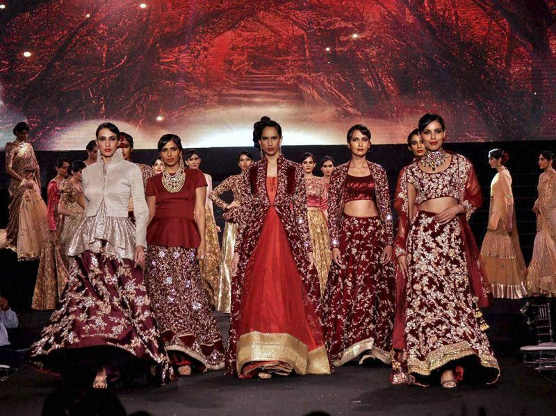 Models displays designer Vikram Phadnis' collection during the celebrations.  (PTI)