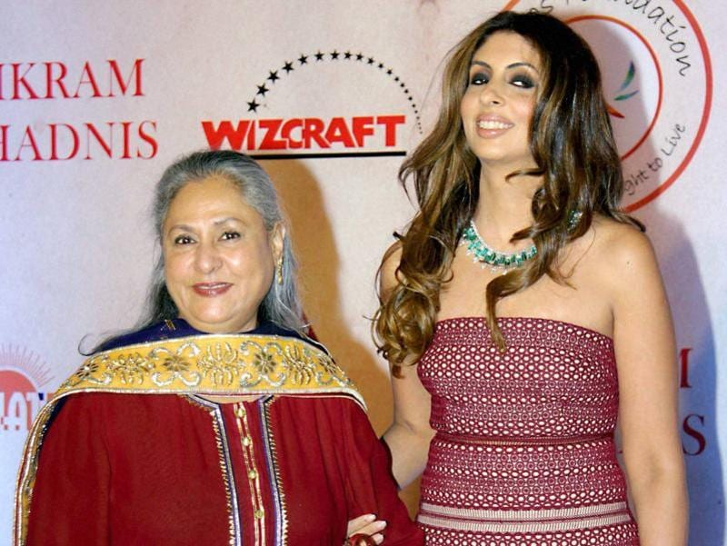 Politician and  Bollywood actor Jaya Bachchan along with her daughter Shweta Bachcha Nanda attended  fashion designer Vikram Phadnis' fashion show in Mumbai. (PTI)