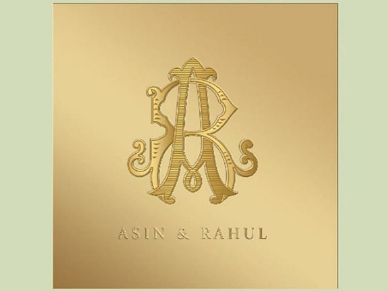 Asin put the wedding invite on Instagram a day before the wedding. The classy card has Asin and Rahul's initials embossed in gold. (Instagram)