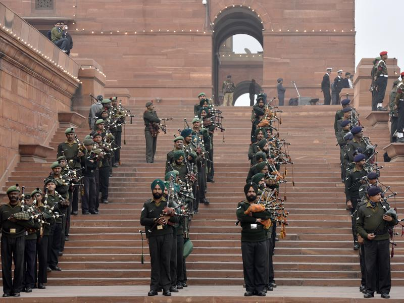 An Indian Army band performs during the Beating Retreat Parade Rehearsal, in New Delhi.  (Ravi Choudhary/ HT Photo)