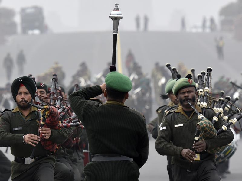 Indian Army band performs during the Beating Retreat Parade Rehearsal. (Ravi Choudhary/ HT Photo)