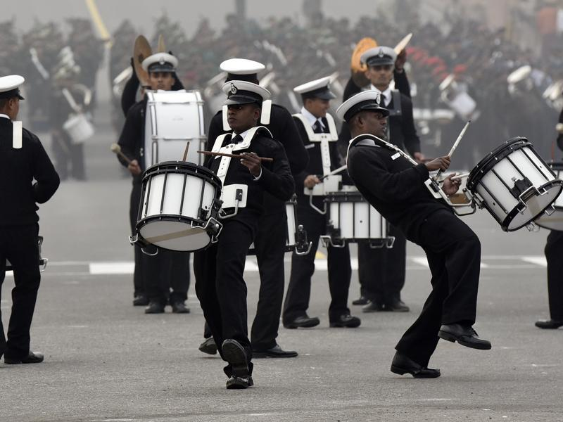 An Indian Navy band participates in Beating Retreat Parade Rehearsal at Rajpath, New Delhi. (Ravi Choudhary/ HT Photo)