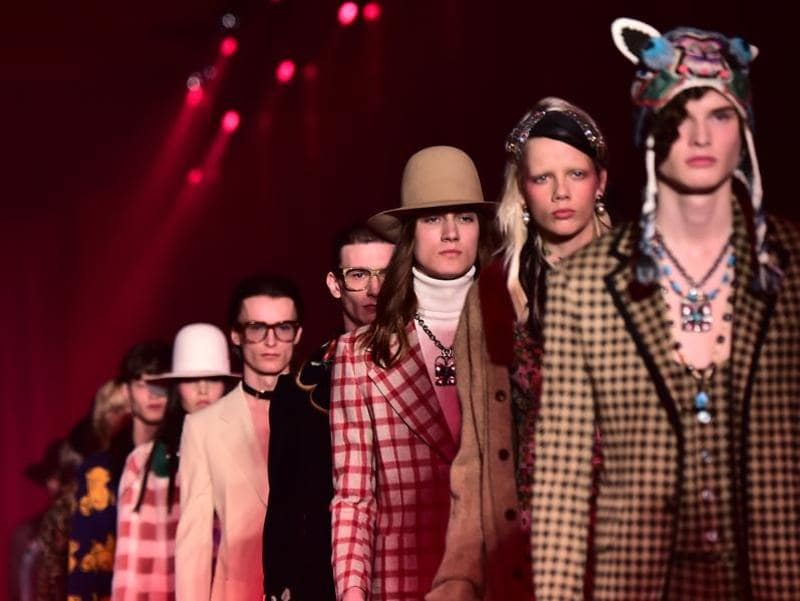 The whole lineup of Gucci models.  (AFP)