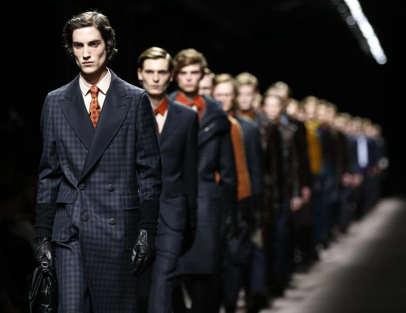 Models wear creations for Canali men's Fall-Winter 2016-2017 collection. (AP)