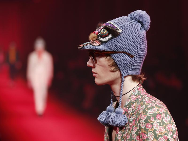 A model wears a creation for Gucci men's Fall-Winter 2016-2017 collection. (AP)
