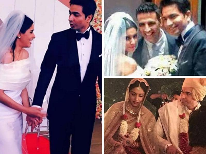 Asin and Rahul Sharma got married in a private twin wedding in Delhi on Tuesday. Actor Akshay Kumar was the best man. (Instagram/twitter)