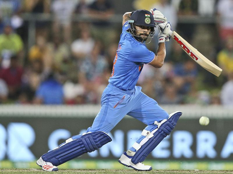 Indian batsman Virat Kohli plays a shot during his knock of 106. (AP Photo)