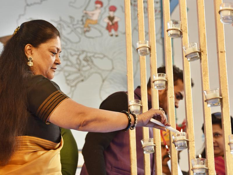 The chief minister of Rajasthan, Vasundhara Raje, inaugurates the Jaipur Literature Festival 2016 at Diggi Palace in Jaipur. (Sanjeev Verma/ HT Photo)