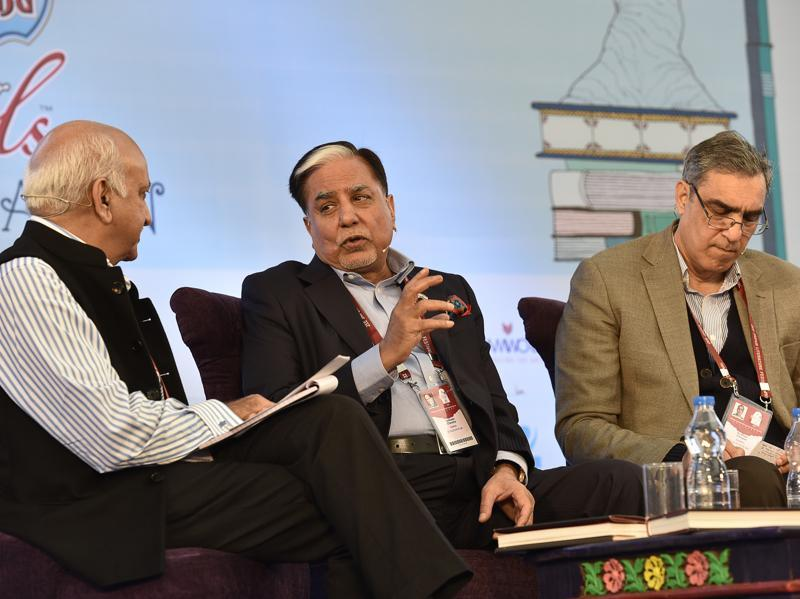 Journalist and BJP leader MJ Akbar, Essel group chairperson Subhash Chandra and chief editor at HarperCollins India Krishan Chopra are seen during the session 'The Z Factor' at the JLF. (Sanjeev Verma/ HT Photo)