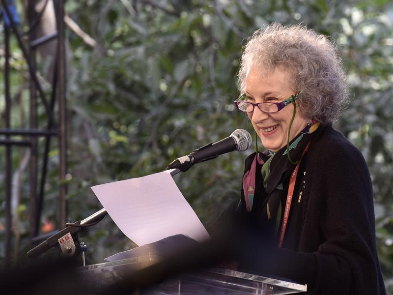 Canadian poet, novelist, literary critic, essayist, and environmental activist Margaret Atwood speaks during the inauguration of Jaipur Literature Festival 2016 (JLF) in Jaipur. (Sanjeev Verma/ HT Photo)