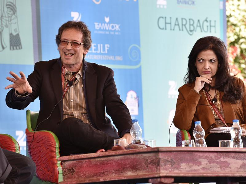 French political scientist Christophe Jaffrelot speaks during the session The Pakistan Paradox as Pakistani journalist Reema Abbasi looks on at the Jaipur Literature Festival.  (Sanjeev Verma/ HT Photo)