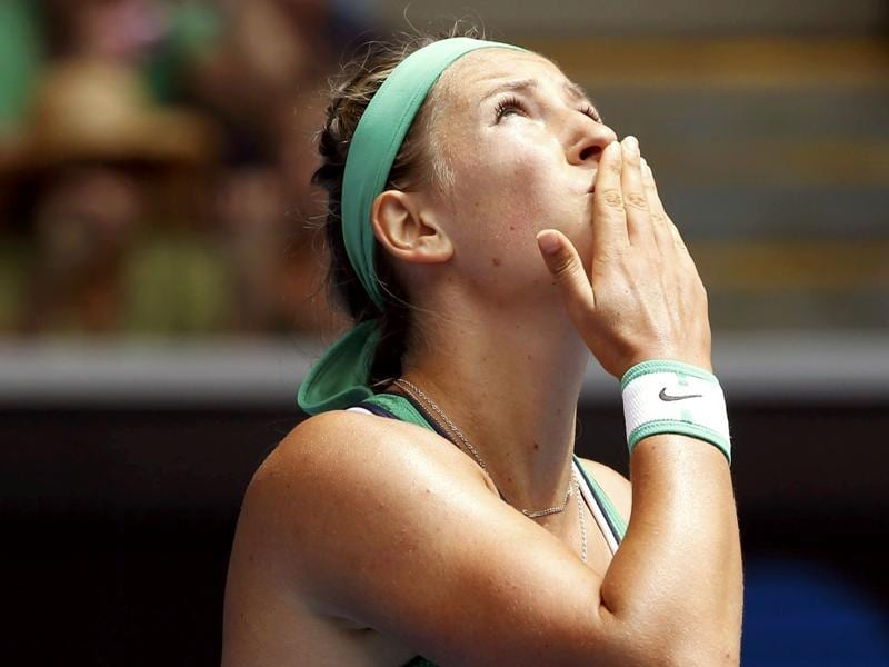 Belarus' Victoria Azarenka looks to the skies after winning her second round match against Montenegro's Danka Kovinic. (Reuters Photo)