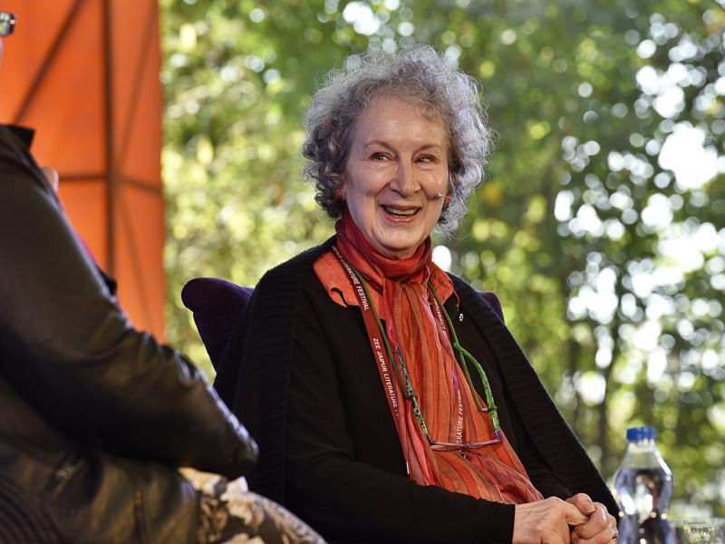 Author Margaret Atwood looks on during the session The Heart Goes Last at JLF 2016 on Friday. (Sanjeev Verma/HT Photo)