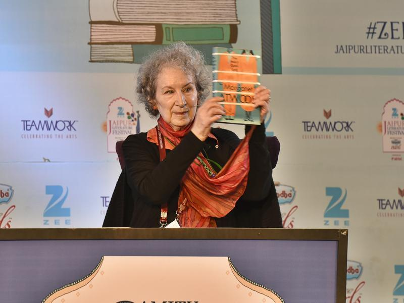 Writer Margaret Atwood launches her book during the session The Heart Goes Last at JLF 2016 on Friday. (Sanjeev Verma/HT Photo)