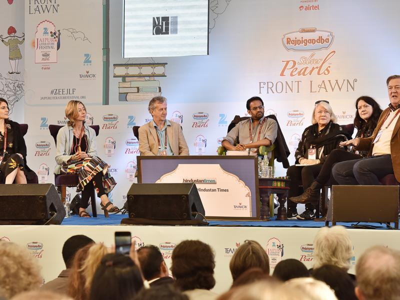 (Left to right) Esther Freud, Christina Lamb, Blake Morrison, Samanth Subramanian, Brigid Keenan, Helen Macdonald and Stephen Fry during the session titled Selfie at Jaipur Literature Festival 2016 on Friday, January 22, 2016. (Sanjeev Verma/HT Photo)
