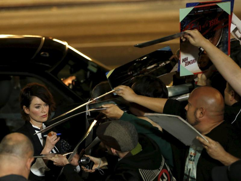 Cersei Lannister has arrived: Lena Headey signs autographs at the premiere of Pride and Prejudice and Zombies. (REUTERS)