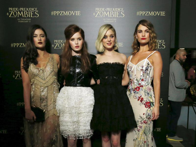 Cast members Millie Brady, Ellie Bamber, Bella Heathcote and Lily James pose at the premiere of Pride and Prejudice and Zombies in Los Angeles. (REUTERS)