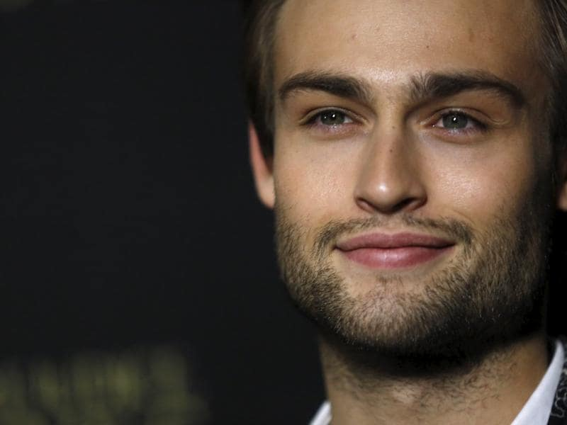 British star Douglas Booth poses at the premiere of Pride and Prejudice and Zombies in Los Angeles, California. (REUTERS)