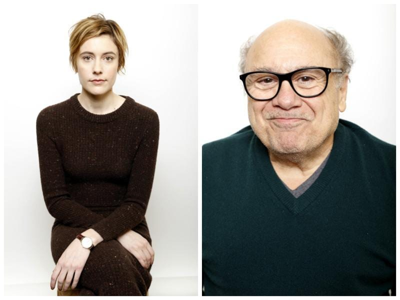 Actors Greta Gerwig and Danny DeVito pose for portraits to promote Weiner-Dog at the Sundance Film Festival. (AP)