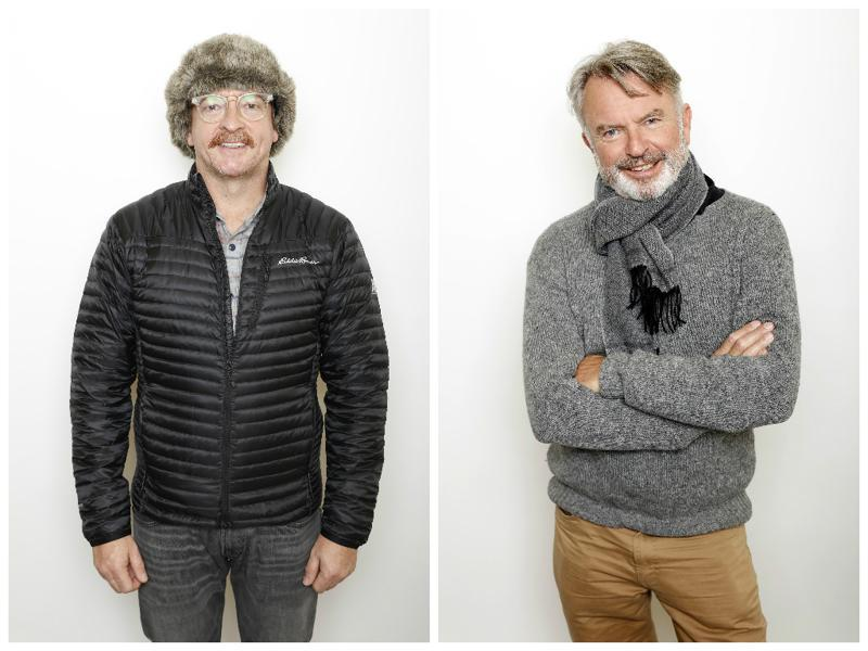 Actors Rhys Darby and Sam Neill pose to promote the film Hunt for the Wilderpeople at the Sundance Film Festival. (AP)